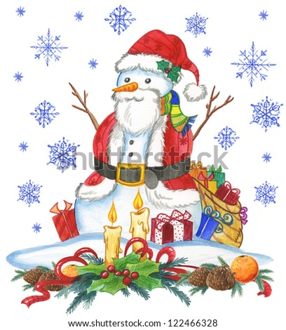 A snow man in Santa Claus dresses, traditional watercolor #122466328