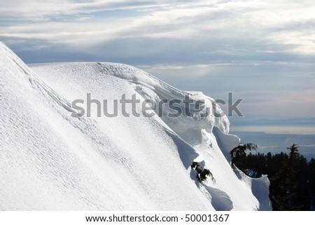 A Snow mountain peak view.