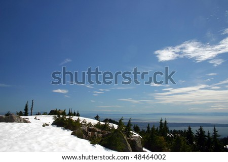 A snow mountain peak view in Vancouver, Canada