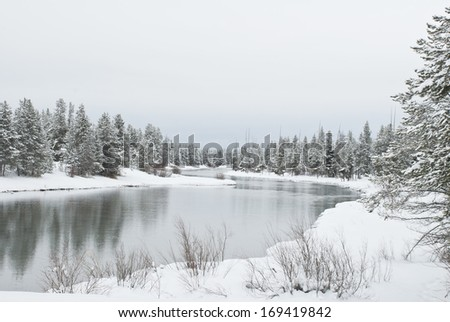 A snow packed winter on the Buffalo River which is a tributary of the upper Henry\'s Fork of the Snake River in Southeast Idaho.