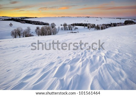 A Snow Structure Under Colorful Sky, Czech Republic