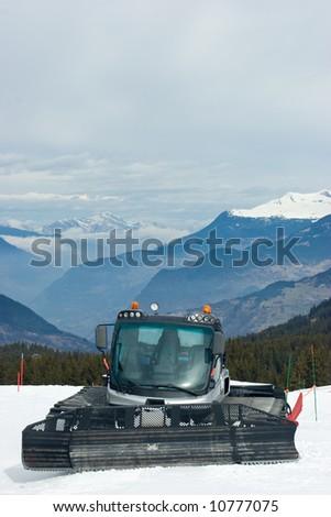 A snowcat at the ski resort at French Alps