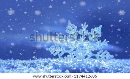 A snowflake close up/macro for a winter/christmas image. In the background little snowflakes are falling.  #1194412606