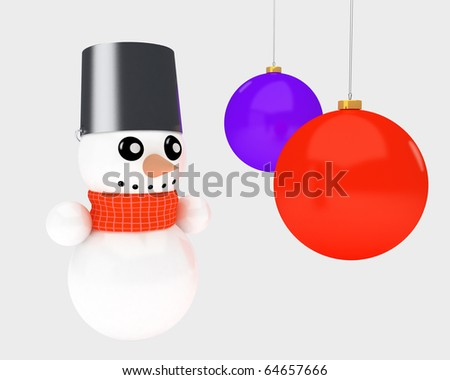 a snowman and some christmas tree decoration balls
