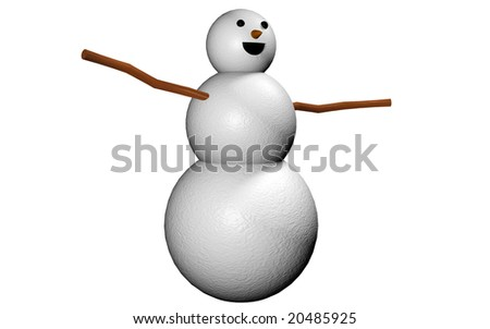A snowman 3d render isolated on white - stock photo