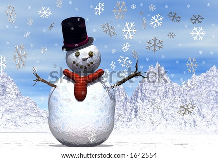A snowman in a winter scene with falling snowflakes