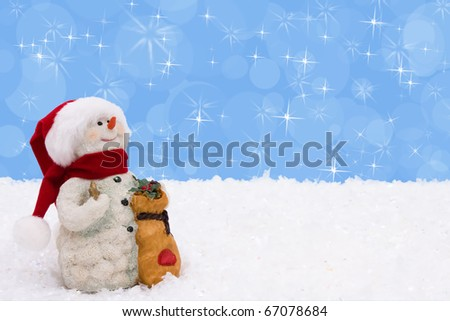 A snowman on a blue background, Winter Time