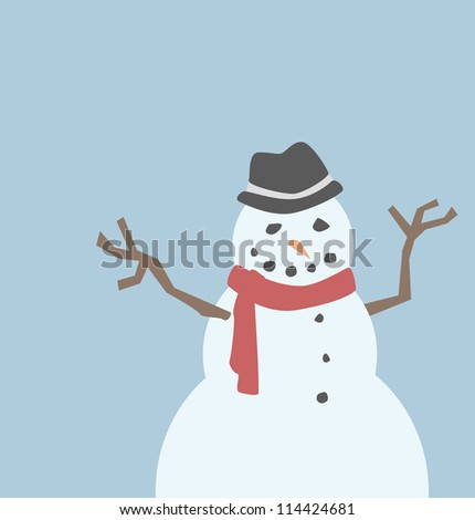 A snowman wearing a fedora and a red scarf.