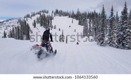 A snowmobiler in the Monashees near Revelstoke, Canada Сток-фото ©