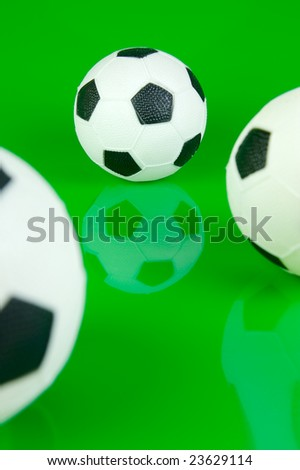 A soccer ball isolated against a green background #23629114
