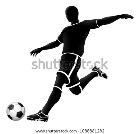 A soccer football player kicking a ball silhouette sports illustration