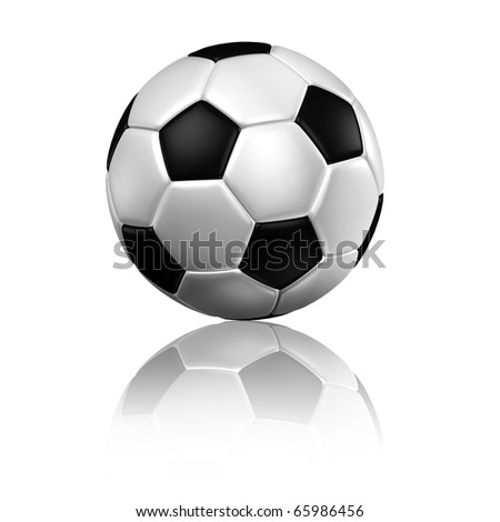 a soccer football with reflection on a white background