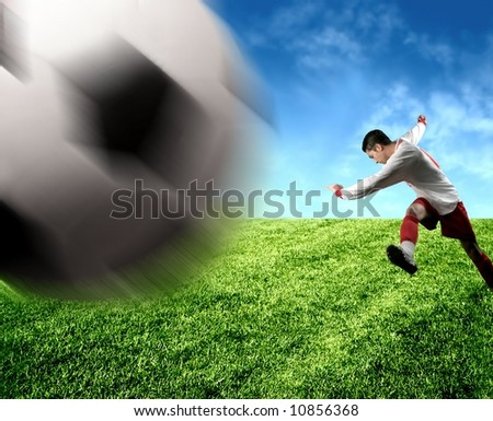 A soccer player in action
