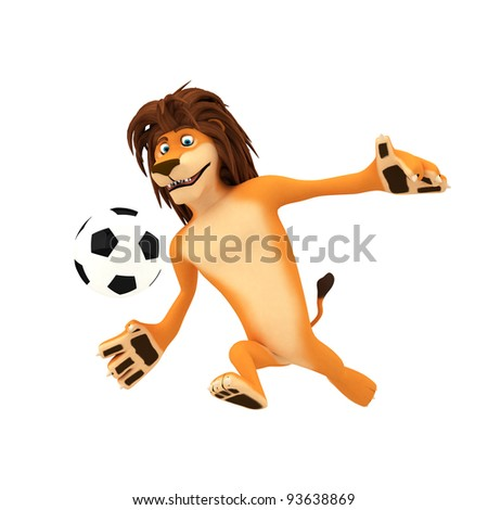 A soccer playing lion ready to kick the ball
