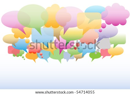 A social media cloud of many speech and thought bubbles translucent gradient colors as a background.