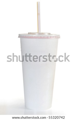 A soft drink in clear takeout paper cup with lid and straw - stock photo