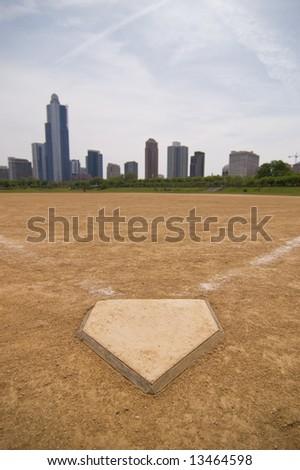 A softball field near downtown