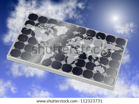 A solar panel with world map on it and blue sky in the background / Solar panel and world