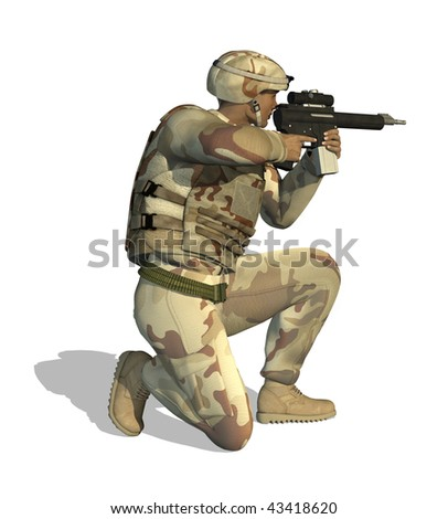 A soldier aims his rifle - 3D render. - stock photo