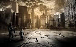 A soldier and a child stand on the road of a ruined city under a scary sky.