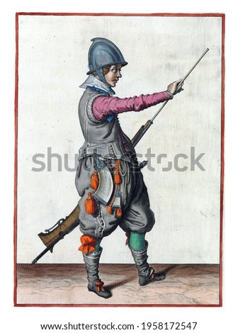 A soldier, full-length, to the right, holding a rudder (a type of firearm) with his left hand by his left thigh and pulling his ramrod out of the barrel with his right hand Сток-фото ©