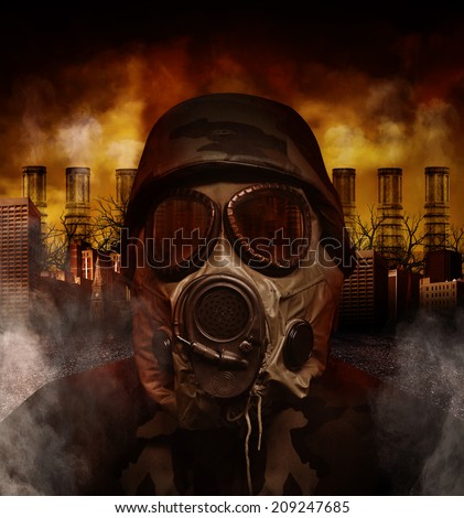 A soldier is wearing a gas mask in a polluted, scary city with smokestacks in the background for a war or hazard concept.