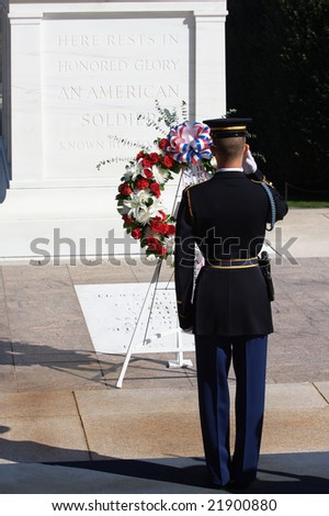 A soldier saluting at the Tomb of the Unknown Soldier