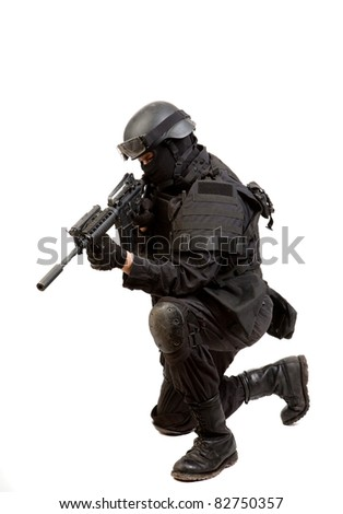 A soldier with a rifle isolated on white