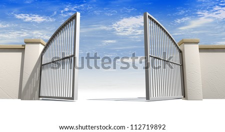 A solid garden wall with open metal gates with a blue sky in the background and isolated on a white foreground