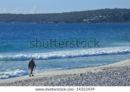 A solitary man walks along a sandy beach in the early morning, watched by a small flock of seagulls. Space for copy in the sky.
