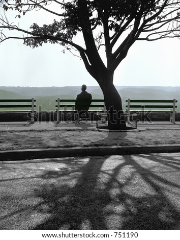 A solitary man watches the setting sun from a city park