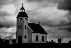 A sombre mood on the church at Möðrudalur, both the highest inhabited settlement and the coldest in the country, on the way to the 2014 Bardarbunga eruption at Holuhraun, Central Highlands, Iceland