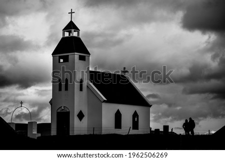 A sombre mood on the church at Möðrudalur, both the highest inhabited settlement and the coldest in the country, on the way to the 2014 Bardarbunga eruption at Holuhraun, Central Highlands, Iceland Photo stock ©
