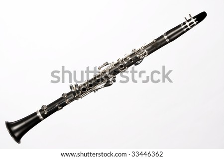 A soprano clarinet isolated against a white background in the horizontal format.