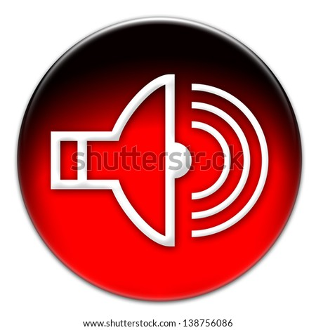 A sound icon on a red glassy button isolated over white background