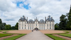 A south facade of Chateau de Cheverny, one of the castles in Loire Valley, France. Cheverny is a popular tourist attraction and is known for its interiors that include a nice collection of furniture