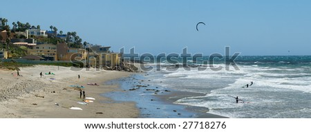 A Southern California beach popular with windsurfers and kite boarders