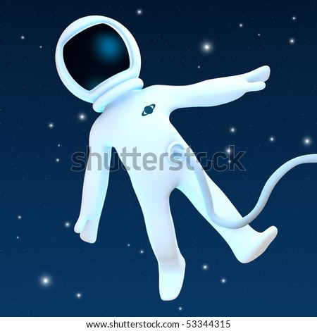 A spaceman floating into Space.