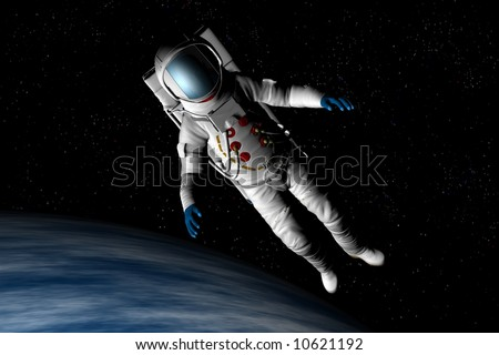 A spaceman floats above the earth