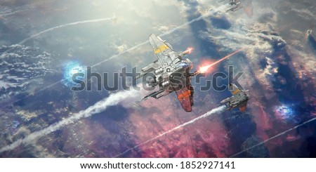 A spaceship flying above the sea of cloud of a planet, shooting lasers in a battle. A few other ships fly in formation below. Photo stock ©