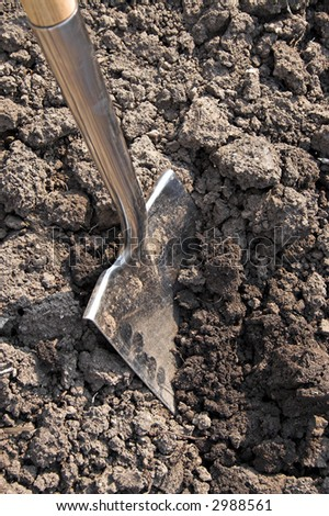 A spade in the act of digging into the soil