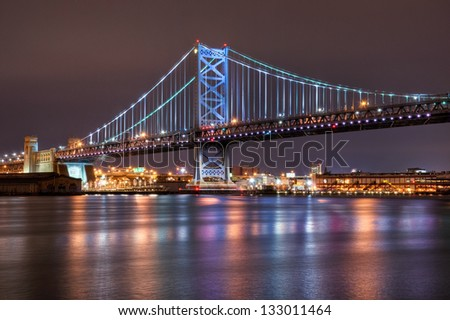A span of the Ben Franklin Bridge in Philadelphia, Pennsylvania.