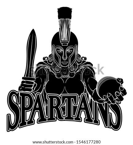 A Spartan or Trojan female gladiator warrior woman cricket sports mascot