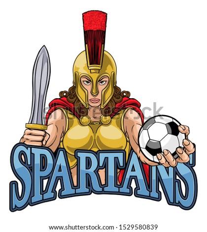 A Spartan or Trojan female gladiator warrior woman soccer football sports mascot