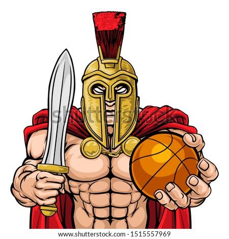 A Spartan or Trojan warrior Basketball sports mascot holding a ball