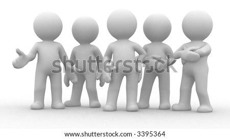 a special group of five 3d humans in different poses stock photo 3395364 shutterstock. Black Bedroom Furniture Sets. Home Design Ideas