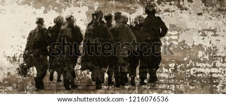 A special unit of soldiers. The poster in grunge style. Illustration.