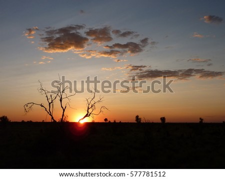 A spectacular colourful outback sunset over the desert landscape of central Australia. #577781512