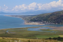 A spectacular view from a high vantage point over Barmouth, Cardigan Bay and the Llyn Peninsula Gwynedd, Wales, UK.