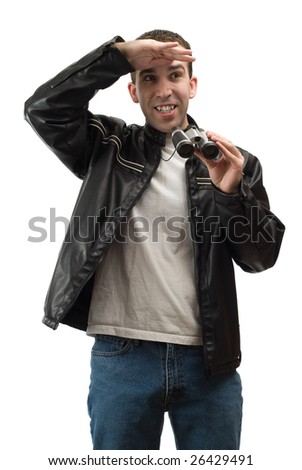 A spectator shading his eyes from the sun, while holding a set of binoculars, isolated against a white background